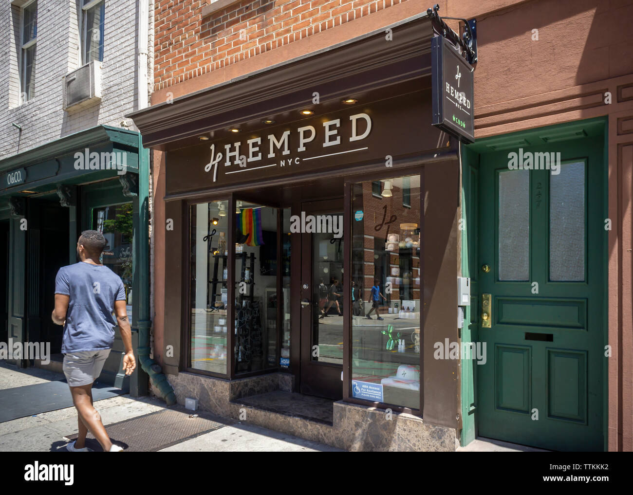 A store selling hemp and CBD infused products in Greenwich Village in New York on Saturday, June 15, 2019. CBD is the non-psychoactive component of marijuana as opposed to tetrahydrocannabinol (THC) which is the stuff that gets you high, not to mention being illegal at this time. (© Richard B. Levine) Stock Photo