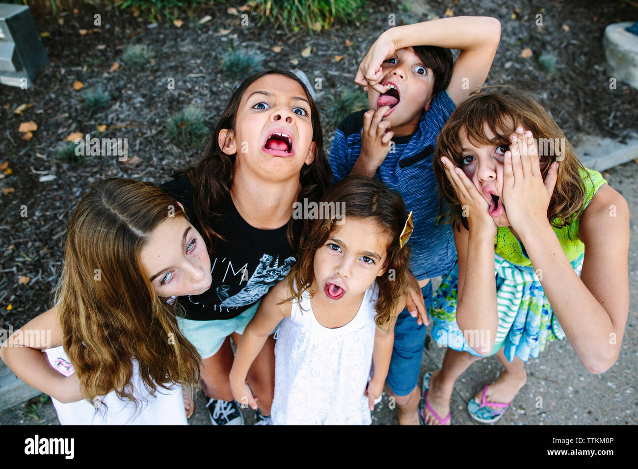 High angle portrait of siblings making faces while standing at park - Stock Image