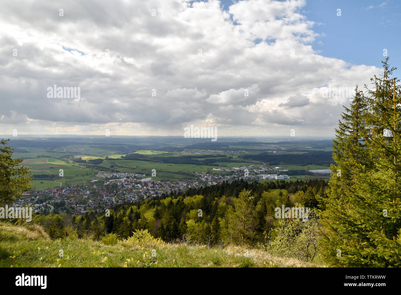 Panoramic view of Swabian Alb, highlands Germany. - Stock Image