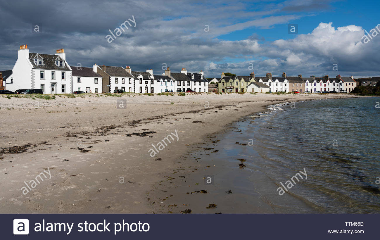 View of whitewashed houses at Port Ellen on Islay in Inner Hebrides , Scotland, UK - Stock Image