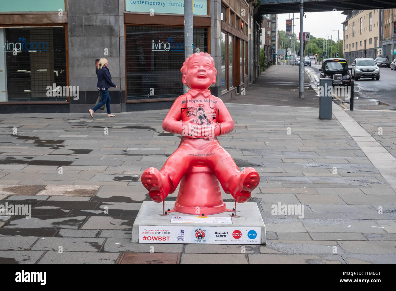 Glasgow, Scotland, UK. 17th June, 2019. Whoopee Wullie, Created by Conzo Throb. Oor Wullie is depicted as a huge whoopee cushion, true to his style, full of cheek and practical jokes. The sculpture is part of Oor Wullie's BIG Bucket Trail. Credit: Skully/Alamy Live News - Stock Image