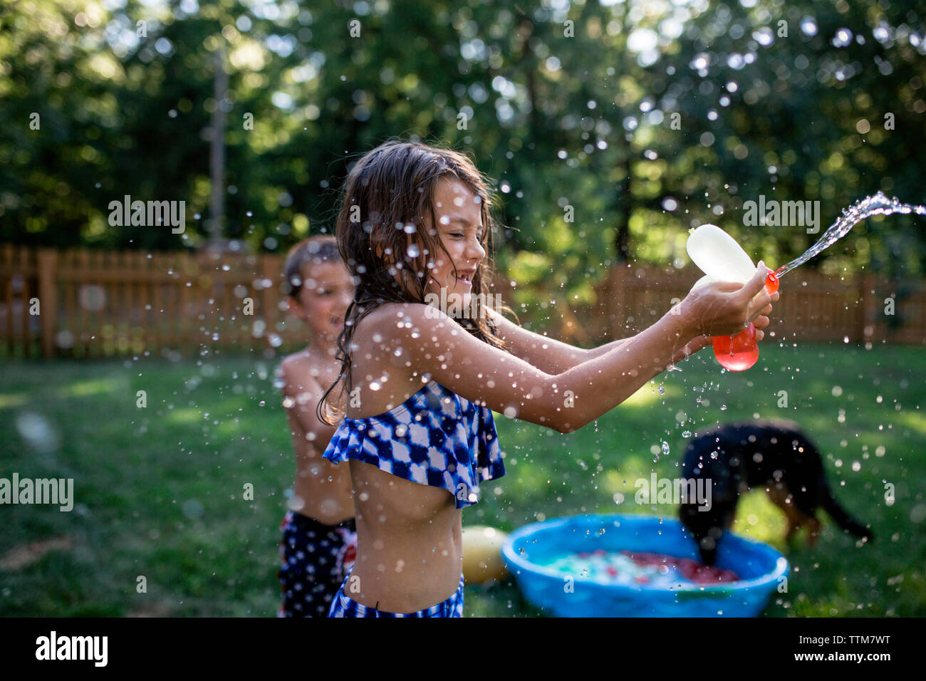 Playful siblings playing with water bombs at backyard - Stock Image