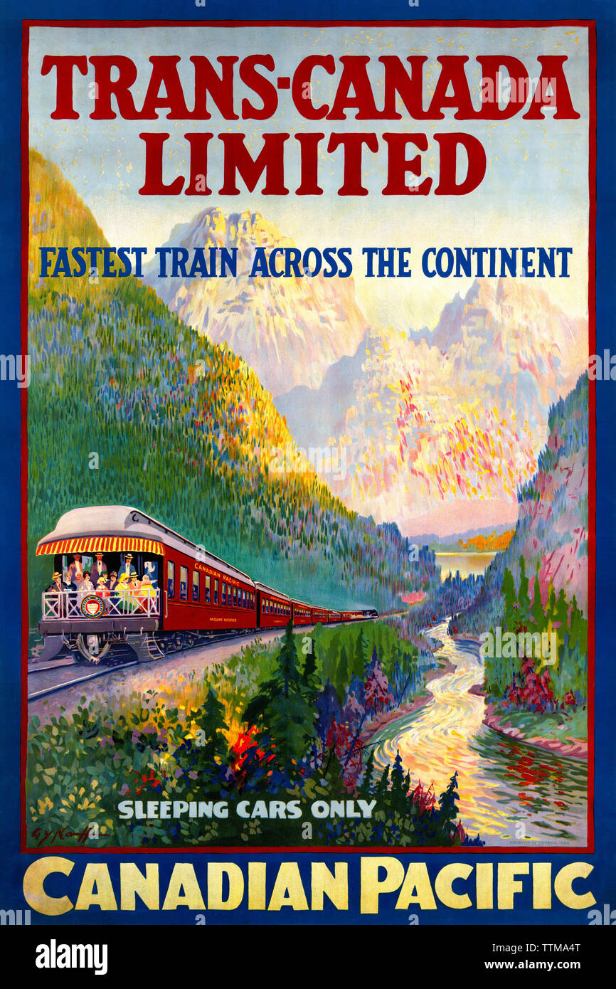 Trans Canada Limited Fastest Train Across The Continent Sleeping Cars Only Canadian Pacific by G. Y. (George Young) Kauffman (1868-1940) publ. 1924. - Stock Image