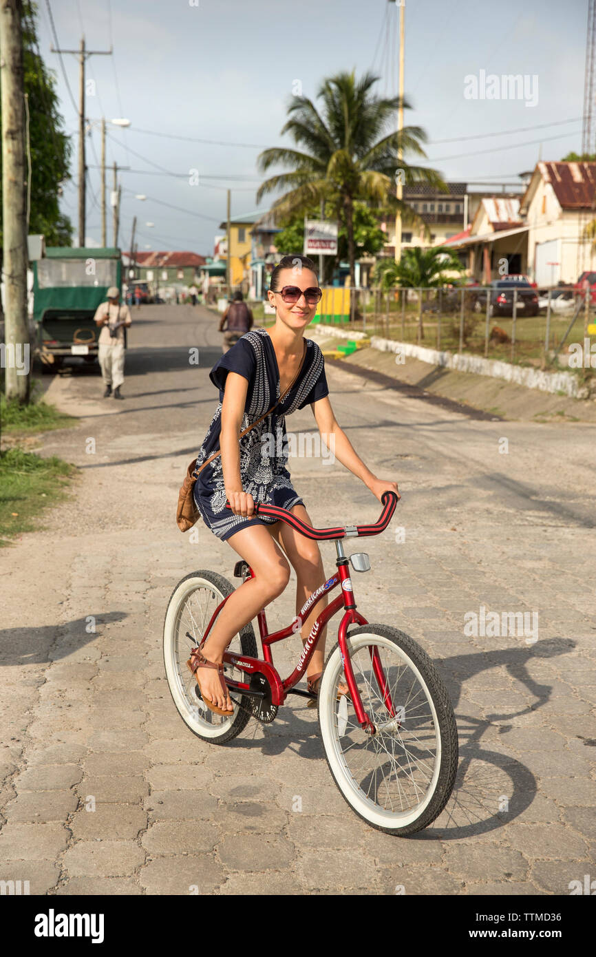 BELIZE, Punta Gorda, Toledo, guests staying at Belcampo Belize Lodge and Jungle Farm can ride bikes around the town of Punta Gorda - Stock Image