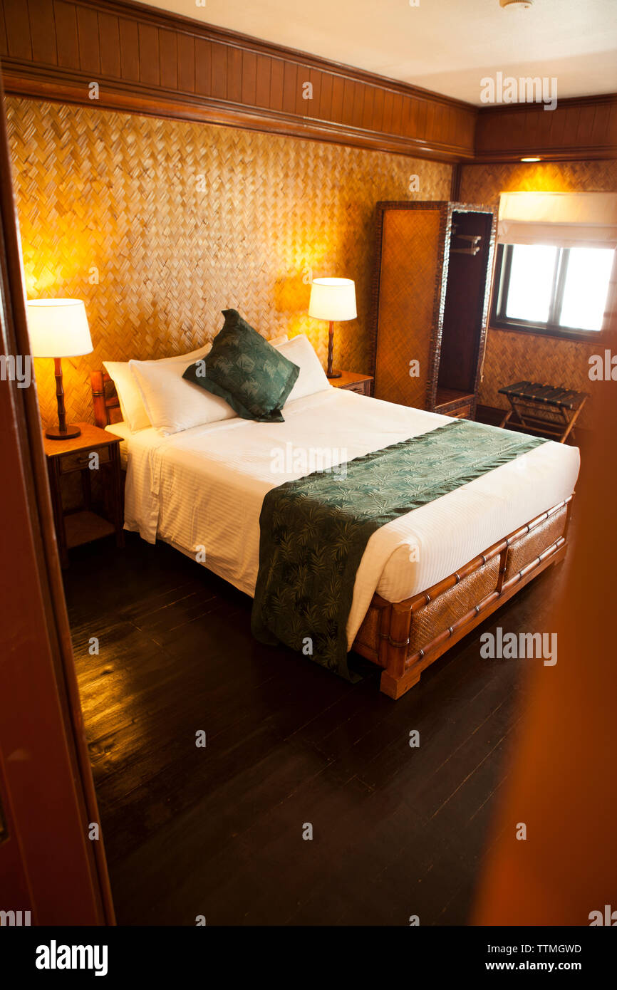 PHILIPPINES, Palawan, El Nido, room shot at Miniloc Island Resort, Bacuit Bay in the South China Sea - Stock Image