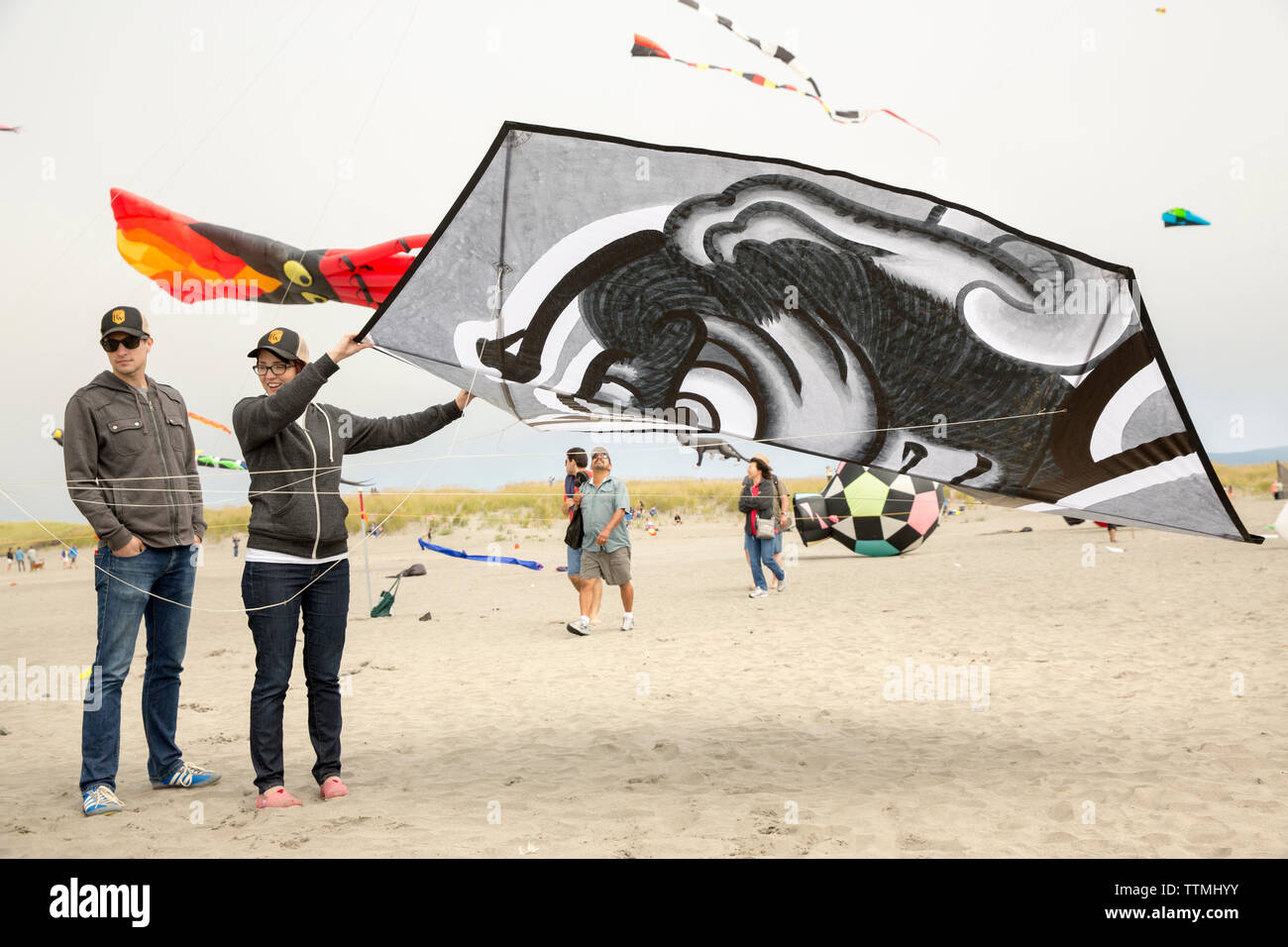 USA, Washington State, Long Beach Peninsula, International Kite Festival, couple launch a large black and white Japanese style kite - Stock Image
