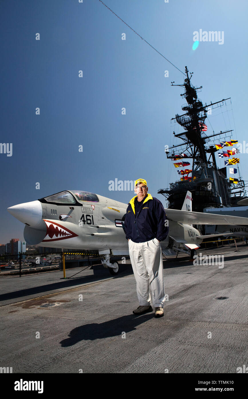 USA, California, San Diego, Navy pilot Dave Cowles flew on the Midway aircraft carrier in 1963 - Stock Image