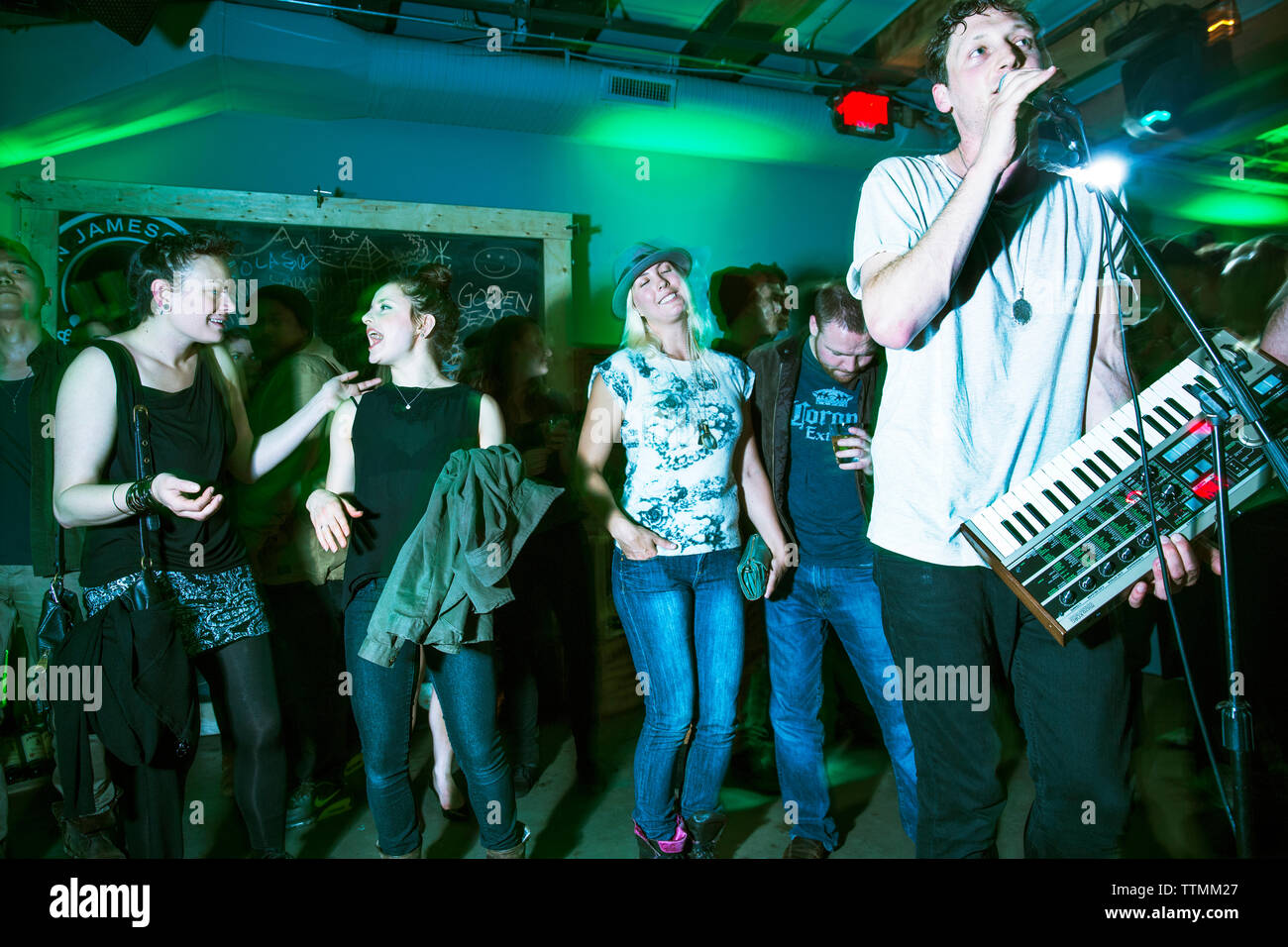 CANADA, Vancouver, British Columbia, people party at a club called The Portside Pub in Gastown Stock Photo