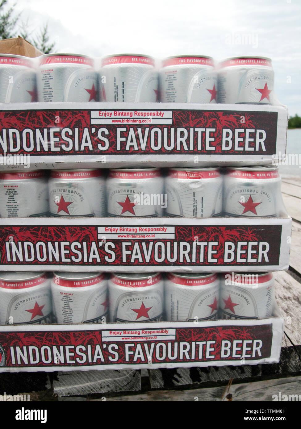 INDONESIA, Mentawai Islands, cases of Bintang beer, Sipora Island - Stock Image