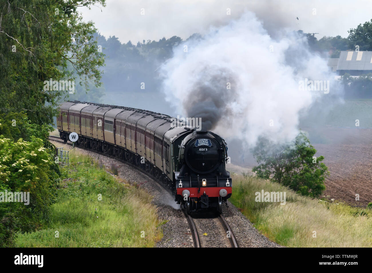 Flying Scotsman Steam Engine running from Worcester to London Paddington - Stock Image