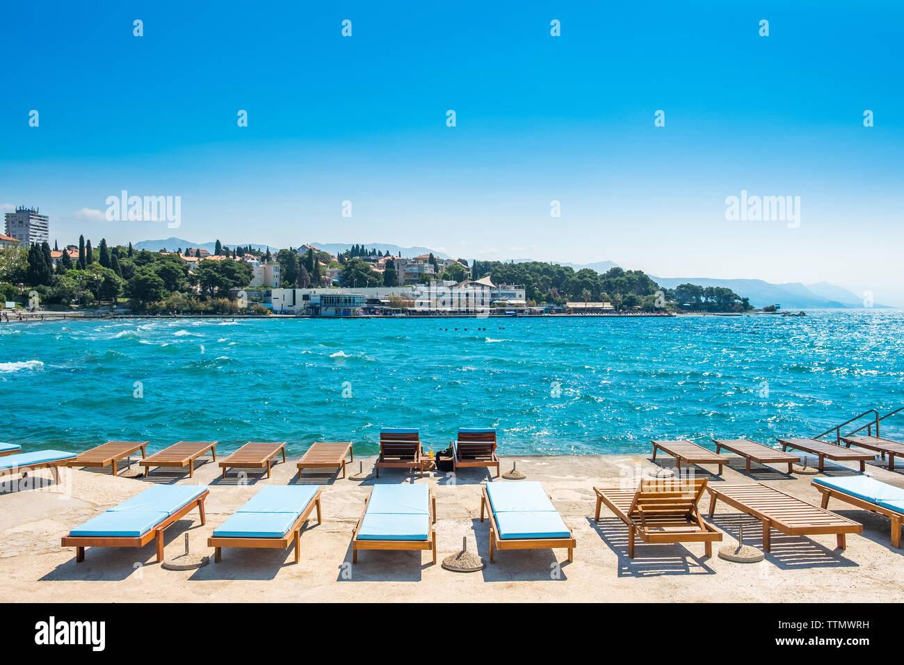 Split, Croatia, Adriatic coast, popular Bacvice beach, largest swimming resort in the city - Stock Image