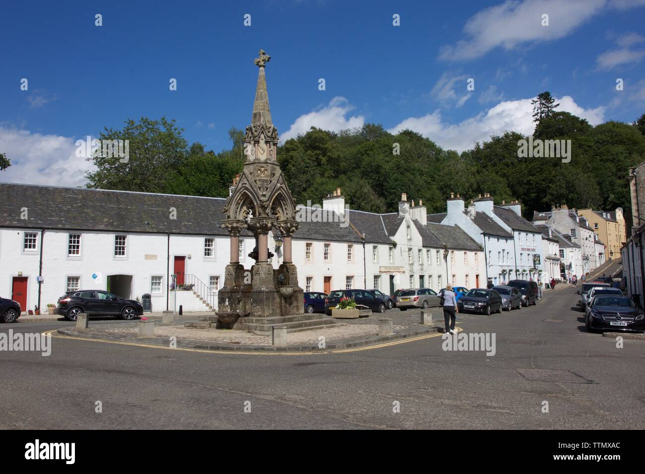 Dunkeld, Perthshire, UK, 9th July 2018: Dunkeld High Street. Credit: Terry Murden, Alamy - Stock Image