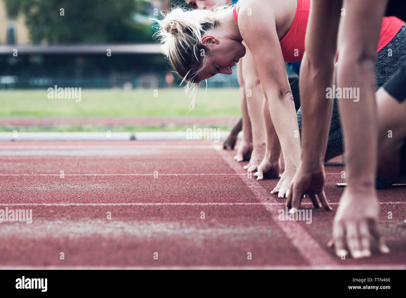 Runners poised at starting line on track - Stock Image