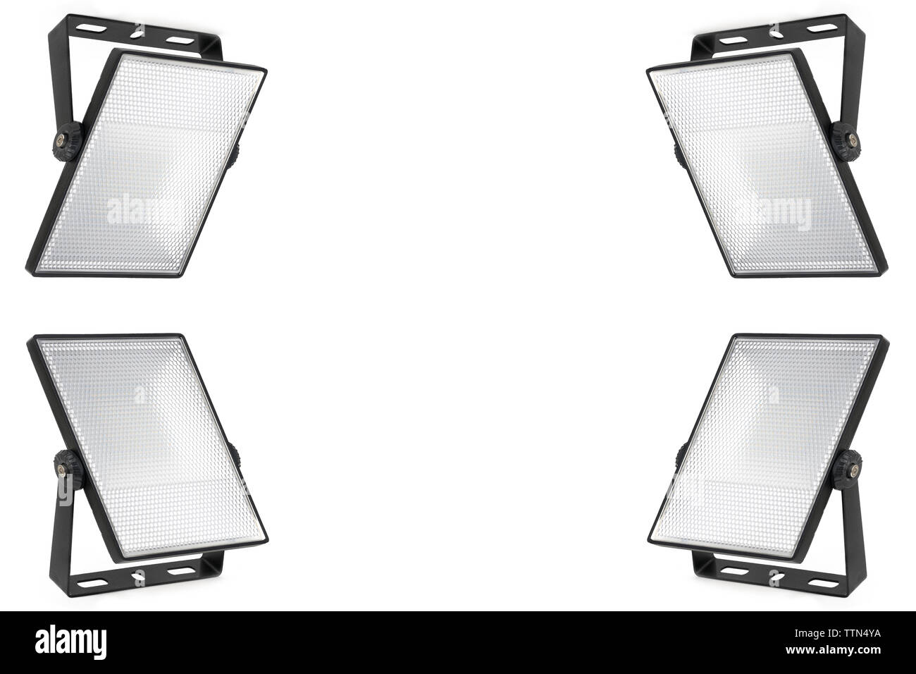 Set of four isolated led spotlights on white background. Translucent diffuser with small cells. A high resolution. - Stock Image