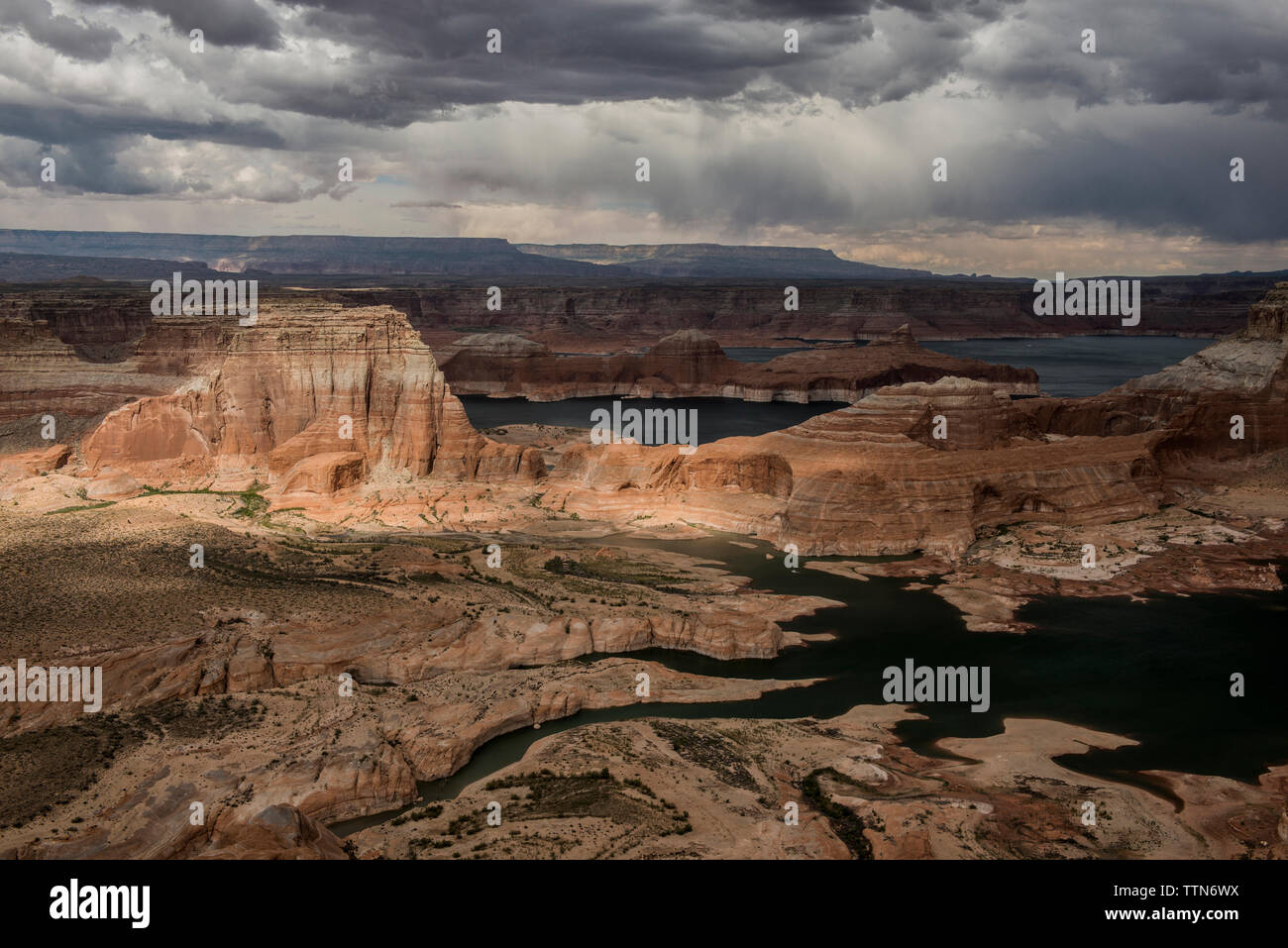 High angle view of rock formations against stormy clouds at Grand Staircase-Escalante National Monument Stock Photo