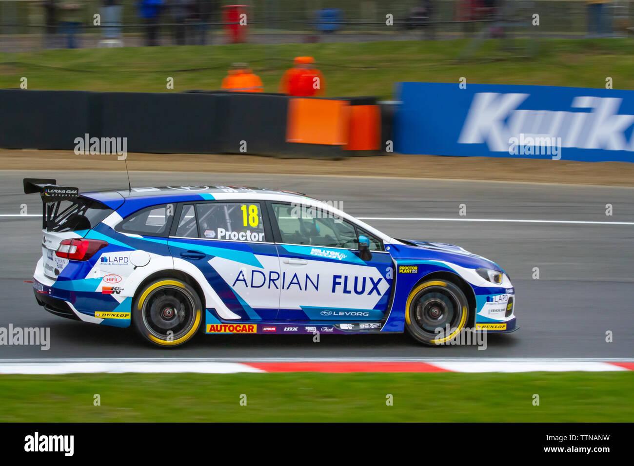 Subaru Levorg on track, British Touring Car Championship (BTCC), Brands Hatch, first race weekend of the season, April 2019 - Stock Image