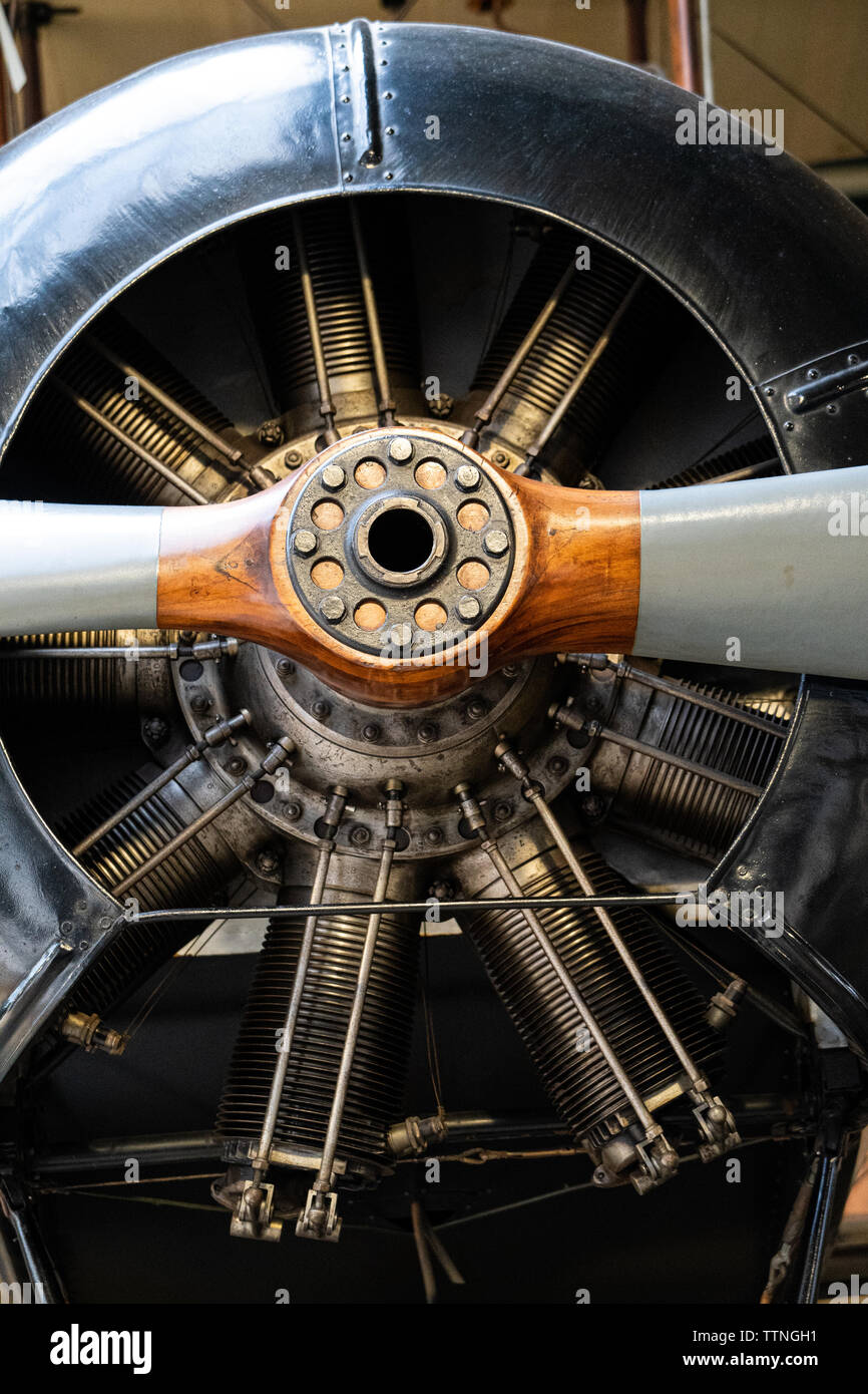 Detail of engine and propeller of Avro 504K WW1 aircraft - Stock Image