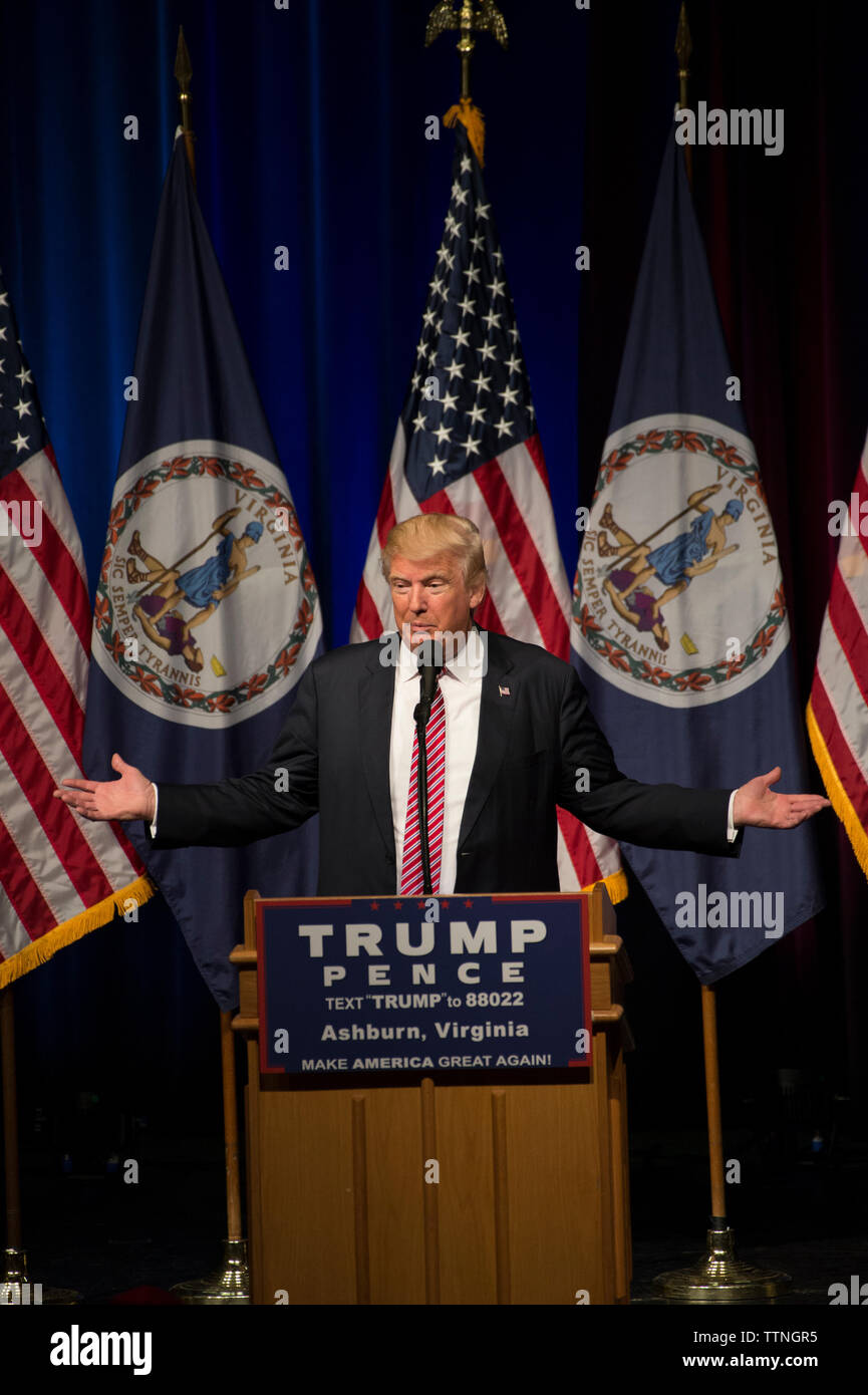 UNITED STATES - August 2, 2016: Donald J. Trump, the Republican candidate for President of the United States, makes a statement at a campaign appearan Stock Photo