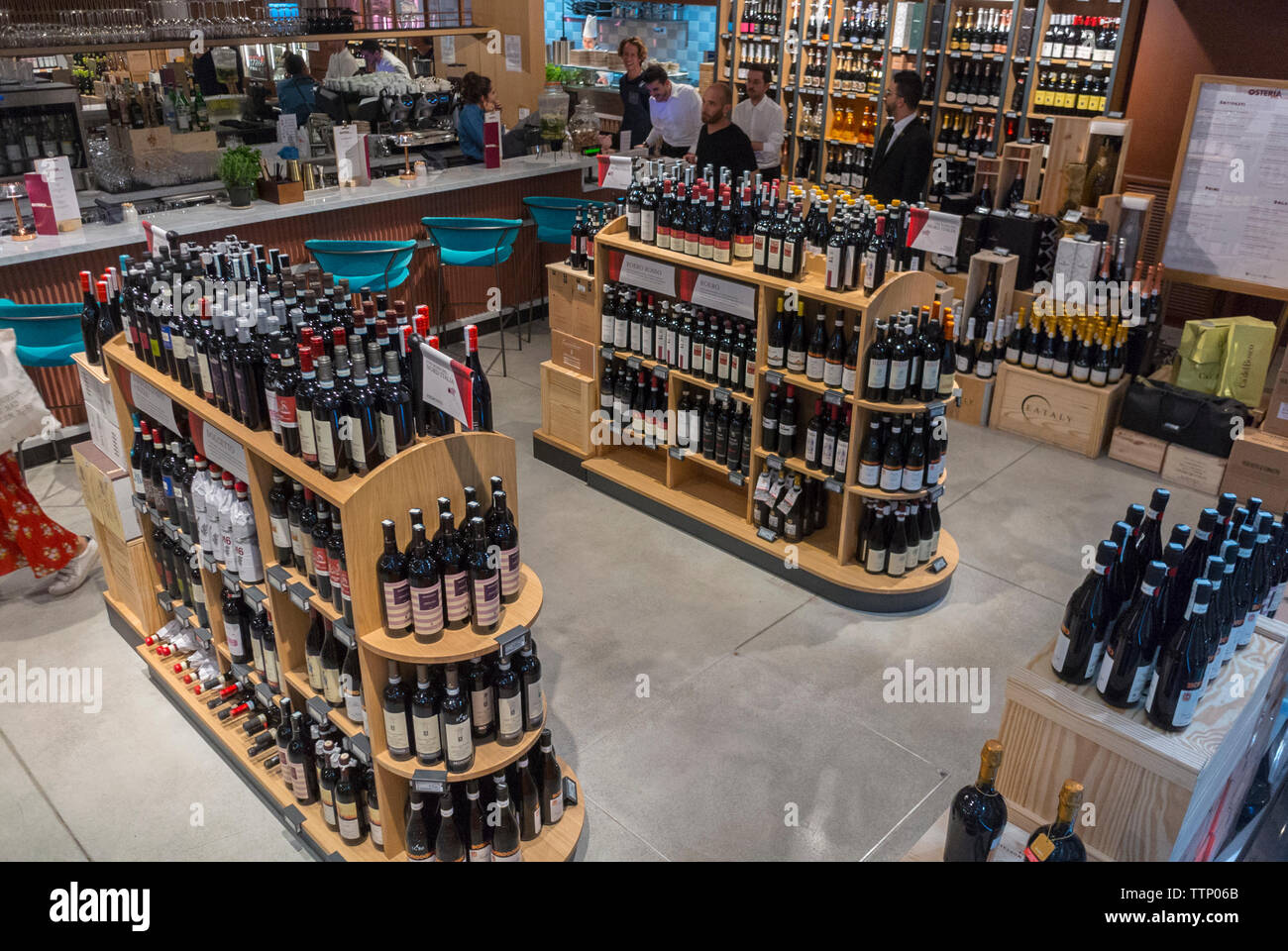 Paris, FRANCE, People inside  Italian Food Court, Store and Wine Shop, in the Marais, Eataly - Stock Image