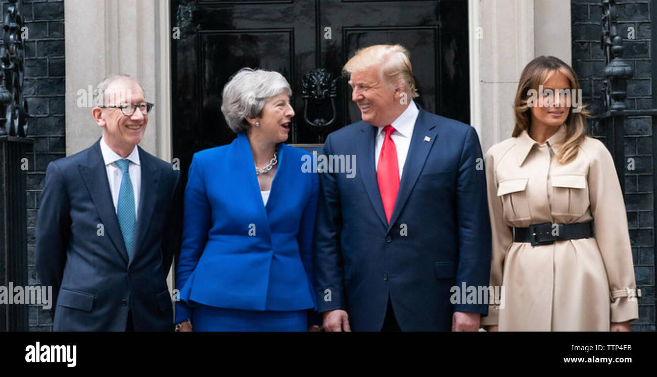 THERESA MAY UK Prime Minister outside No 10 Downing Street with husband Philip and at right US President Donald Trump with Melania Trump in June 2019. Photo: White House - Stock Image