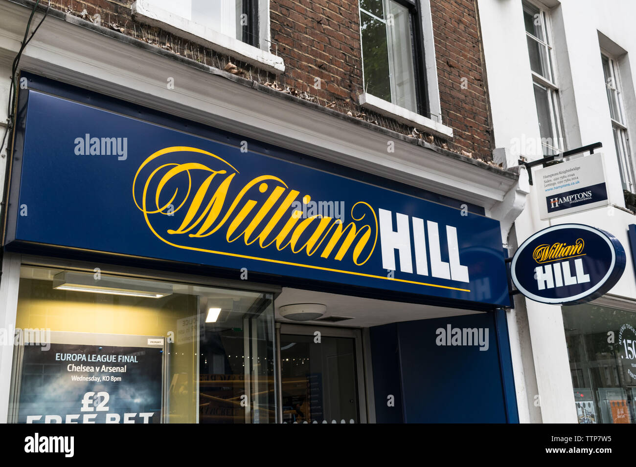London, UK - May 28, 2019: William Hill Bookies on Londons high street - Stock Image