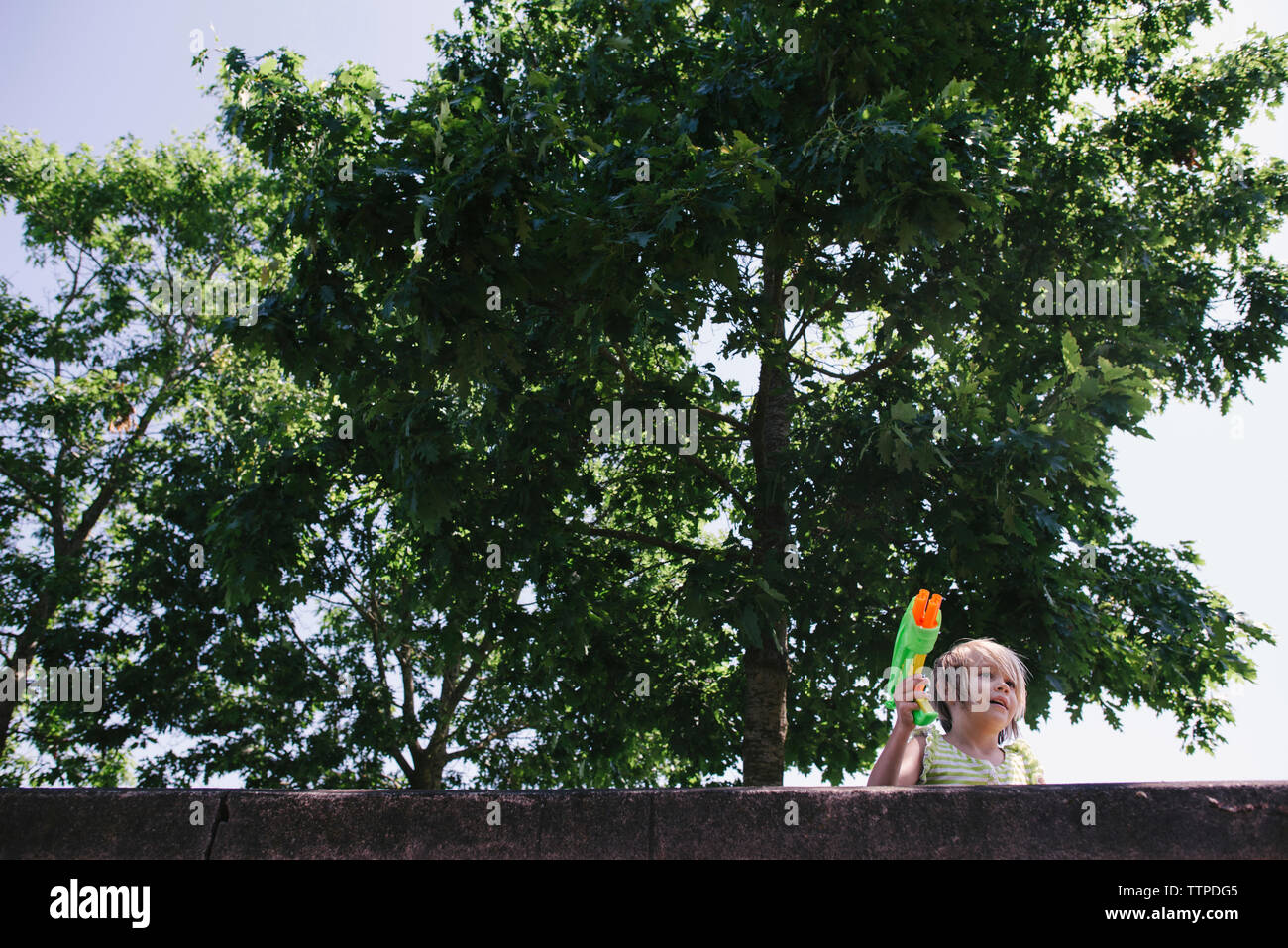 Low angle view of girl holding squirt gun against trees - Stock Image