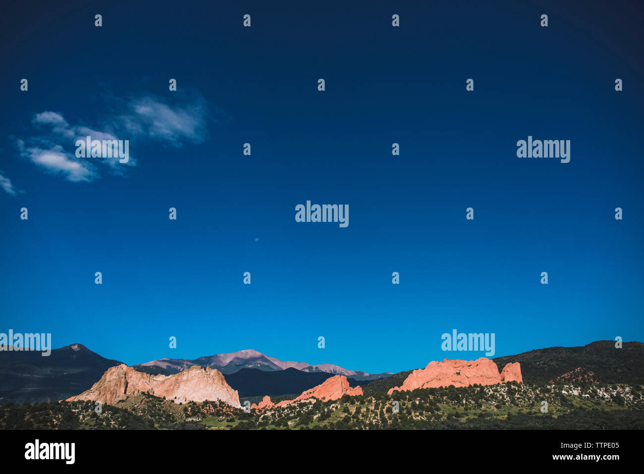 Scenic view of Garden of the Gods against sky - Stock Image