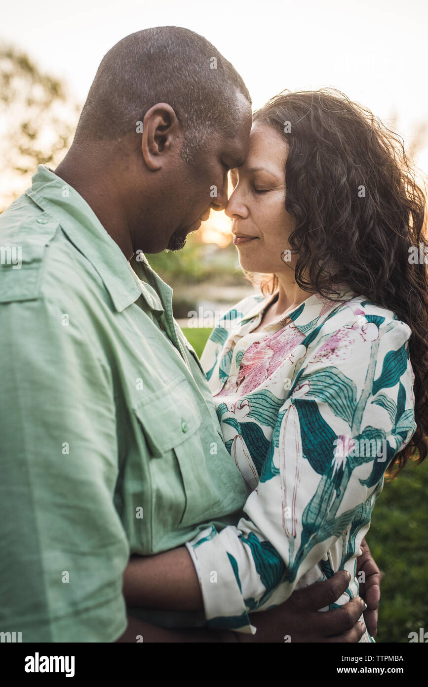Couple with eyes closed touching foreheads while standing at park Stock Photo