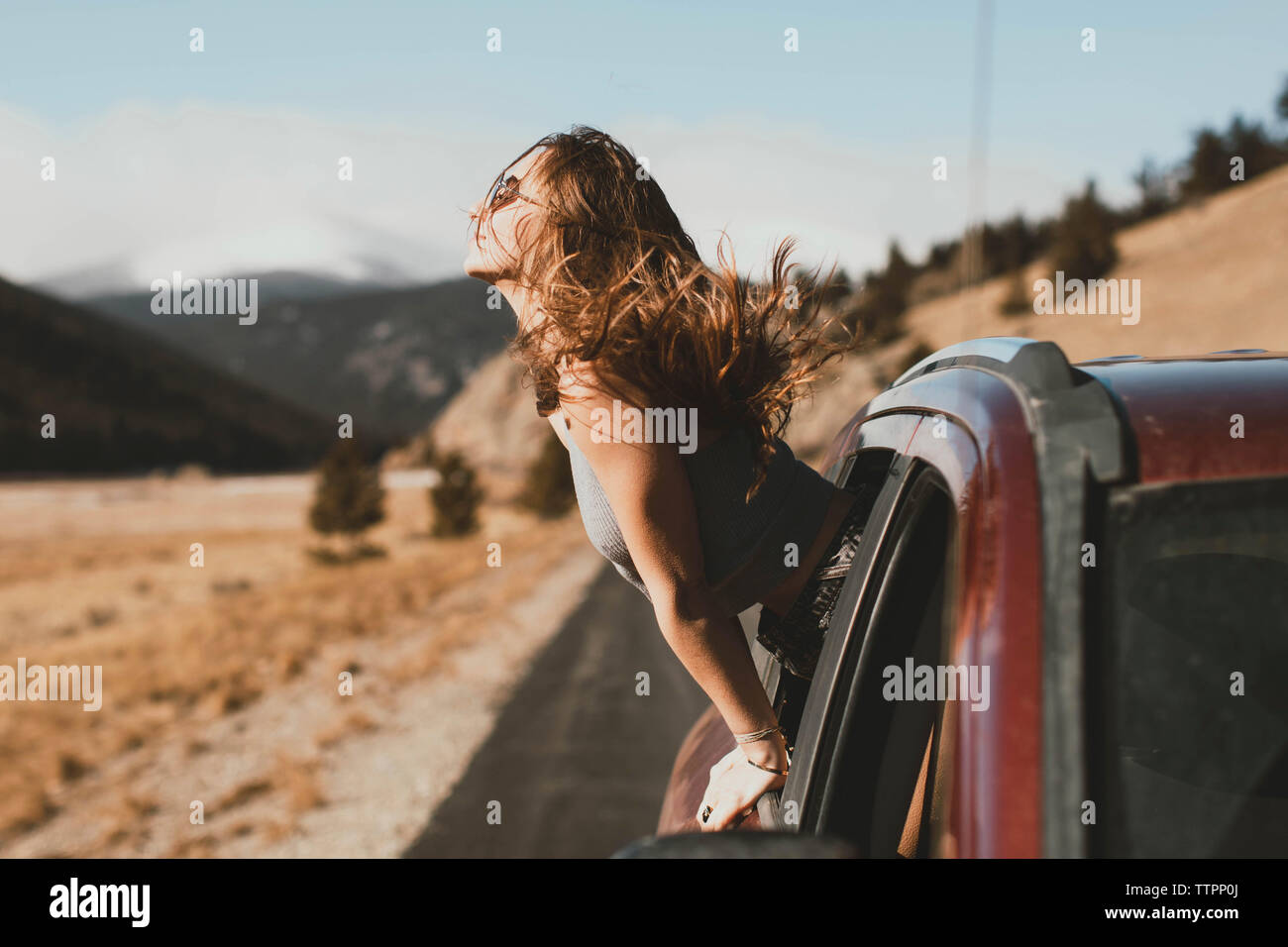 Side view of carefree young woman with tousled hair leaning out from car window - Stock Image