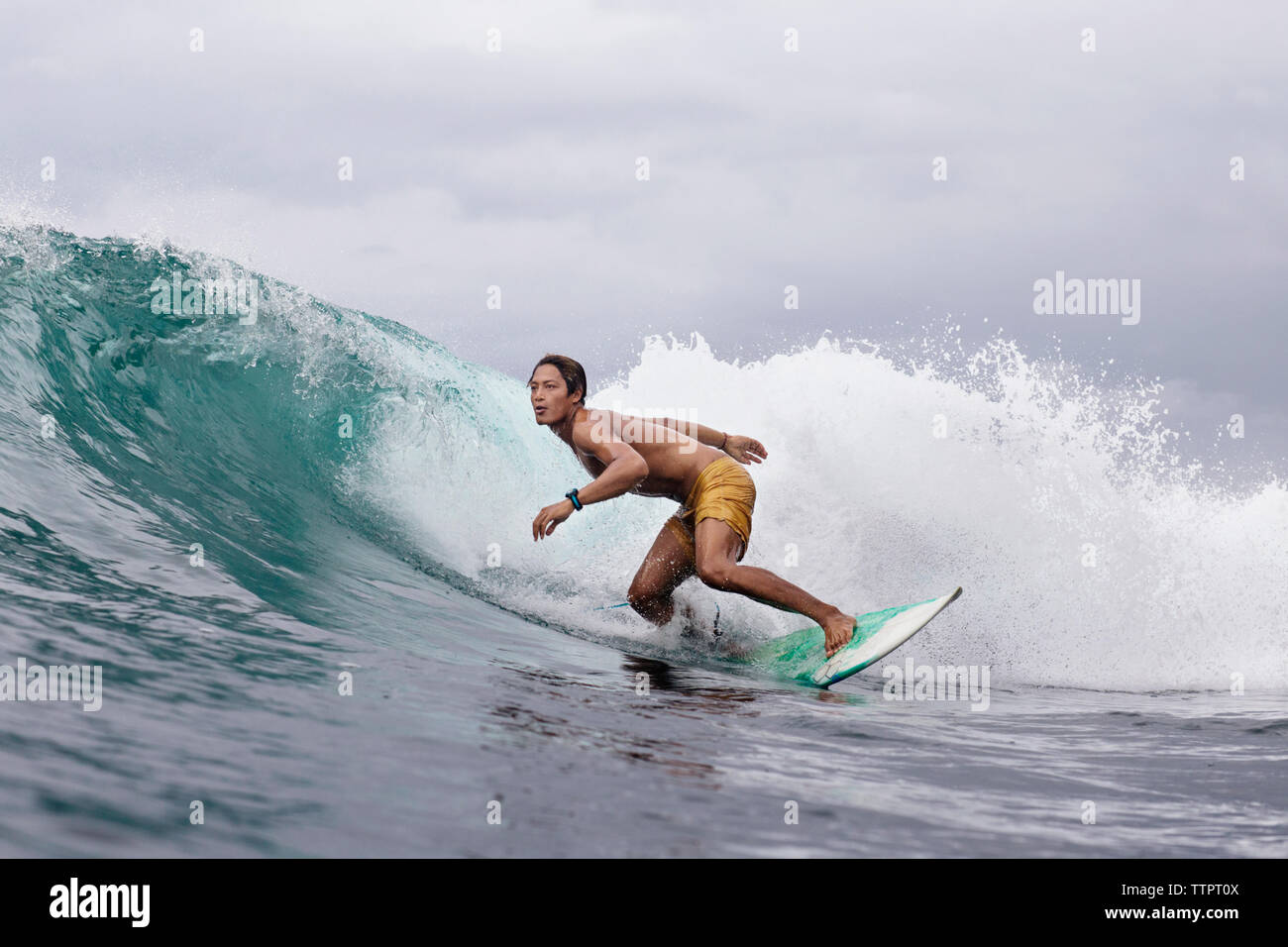 Dedicated young man surfing on sea - Stock Image