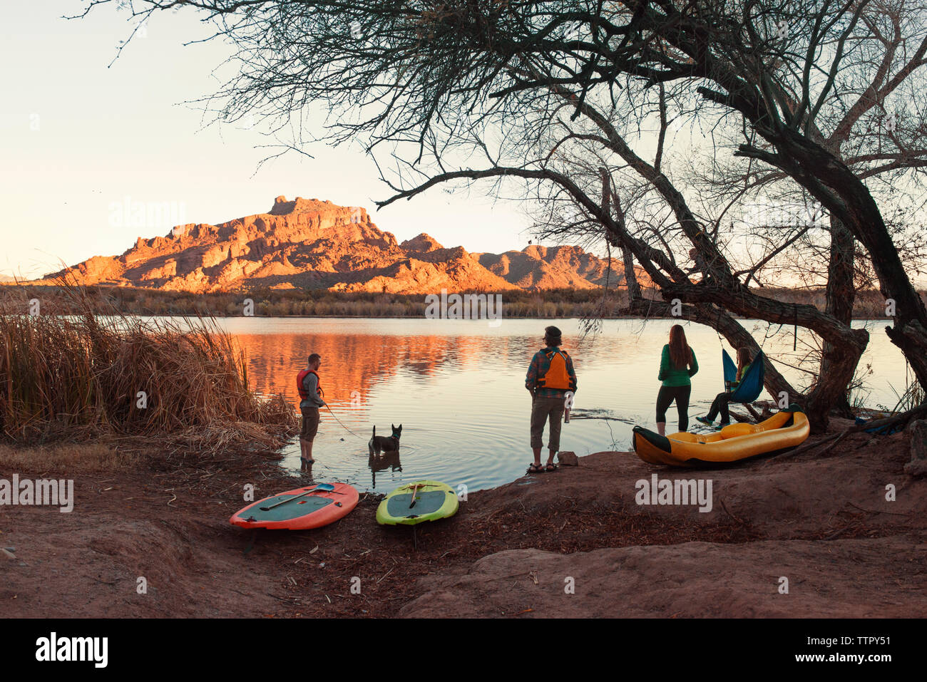 Friends with water sport equipment at lakeshore during dusk - Stock Image