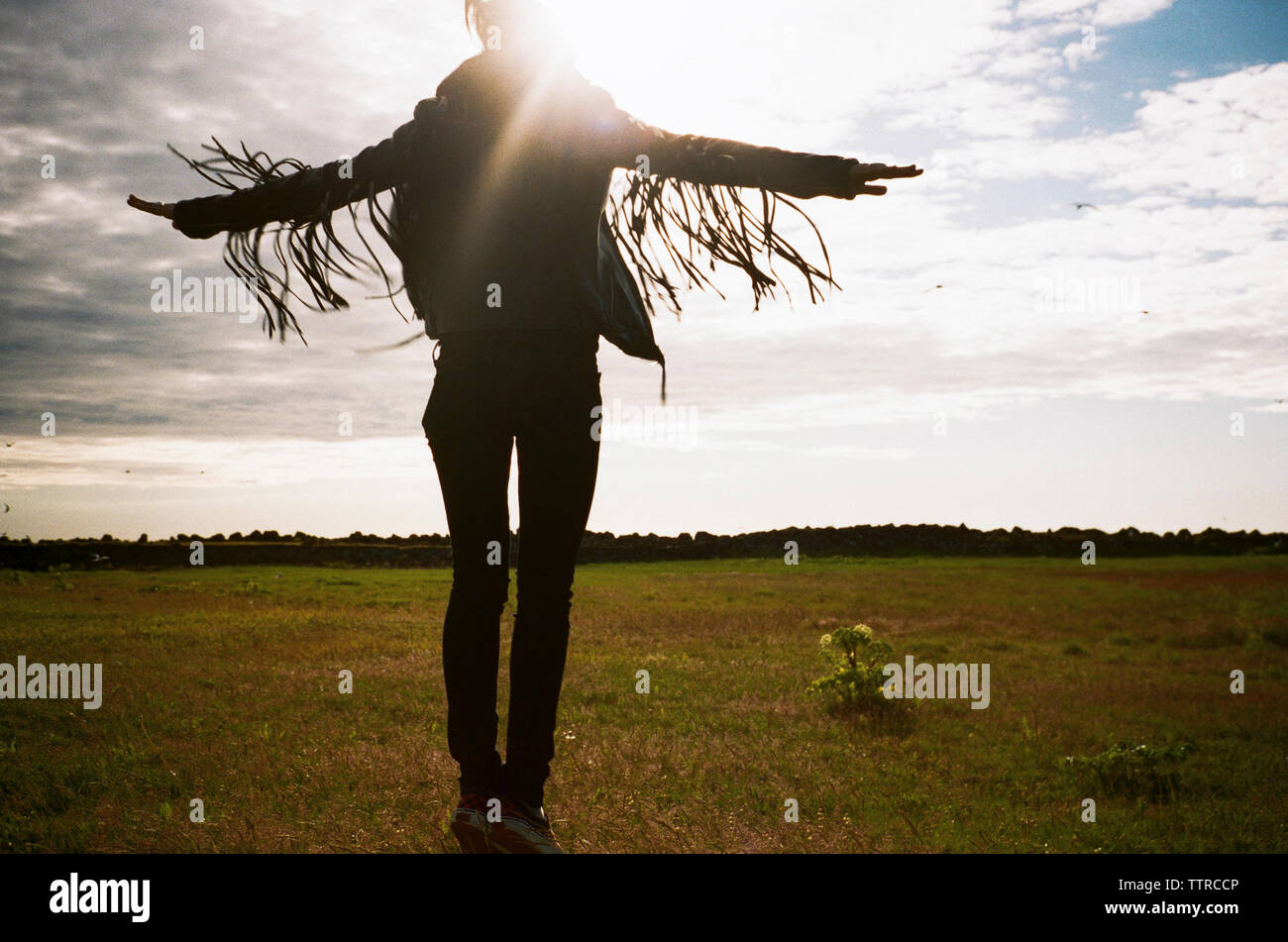 Rear view of excited woman jumping on field against sky - Stock Image