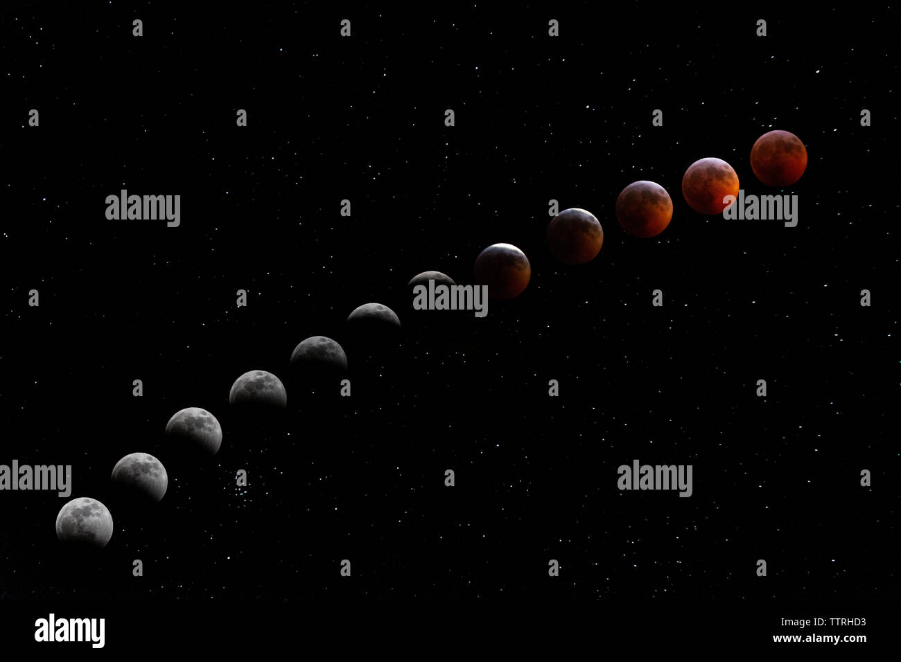 Lunar Eclipse, Super Blood Wolf Moon on January 20th 2019. - Stock Image