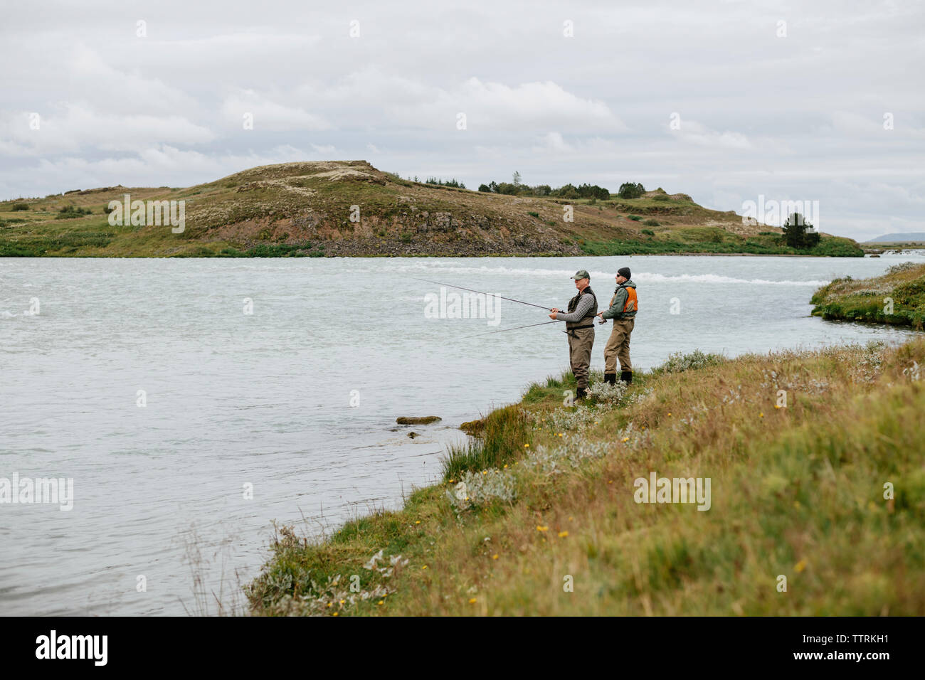 Friends fishing in lake while standing on grassy field against cloudy sky Stock Photo