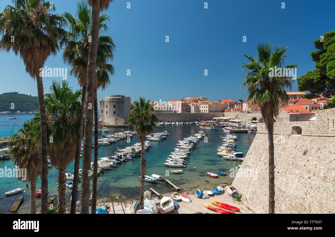Panoramic view of the Old Port in Dubrovnik, Croatia,  in a sunny summer day - Stock Image