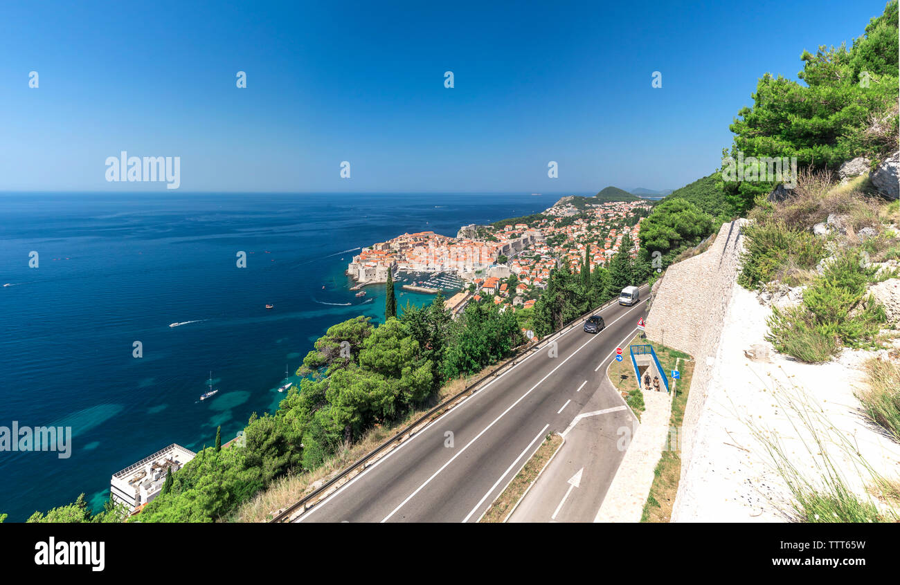 Panoramic view of the Old Town and Old Port of Dubrovnik, Croatia,  in a sunny summer day - Stock Image