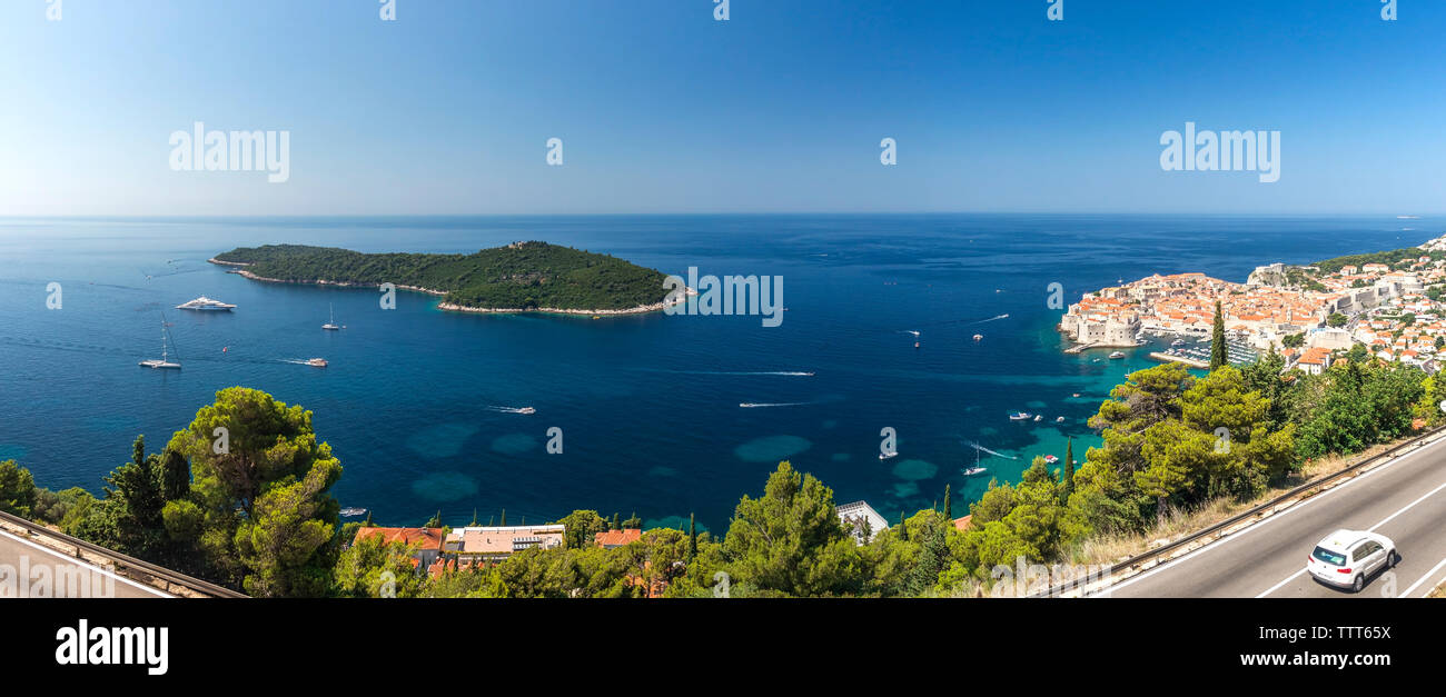 Panoramic view of the Old Town, Lokrum island and Old Port of Dubrovnik, Croatia,  in a sunny summer day - Stock Image