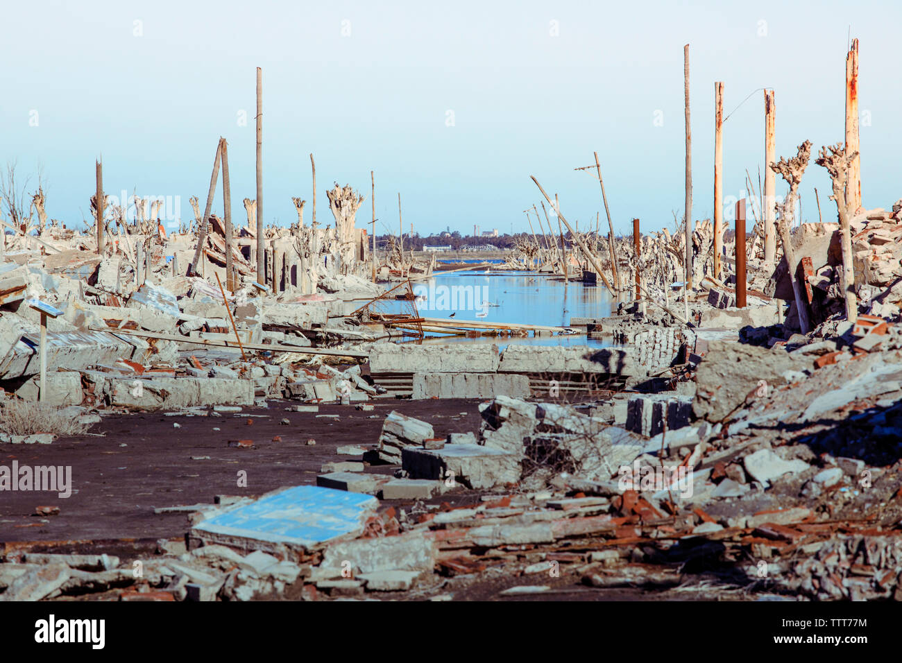 Demolished buildings against clear sky during Hurricane Harvey - Stock Image