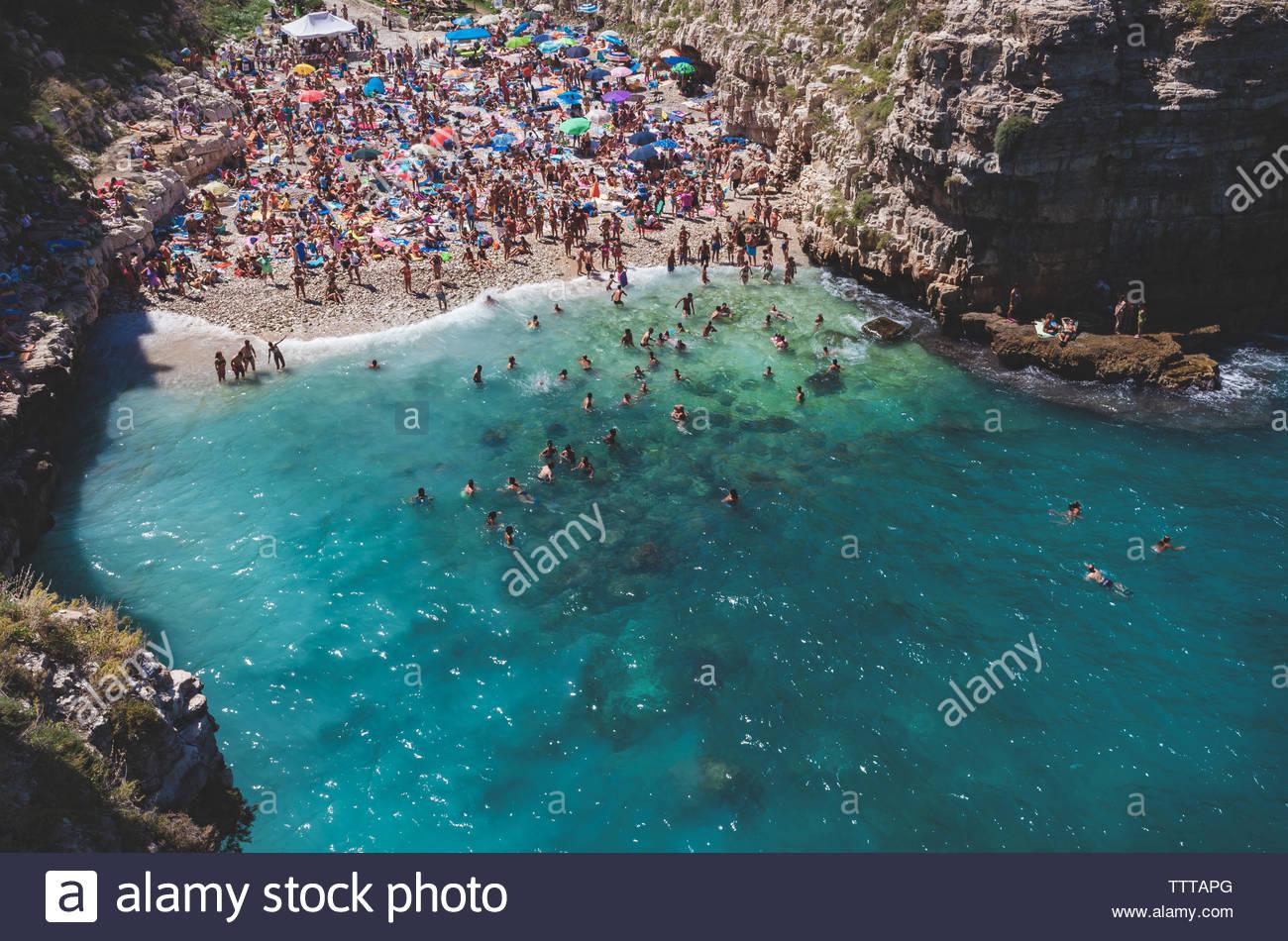 Polignano a Mare - Bari province - Apulia - Italy - south italy sea village lagoon. - Stock Image