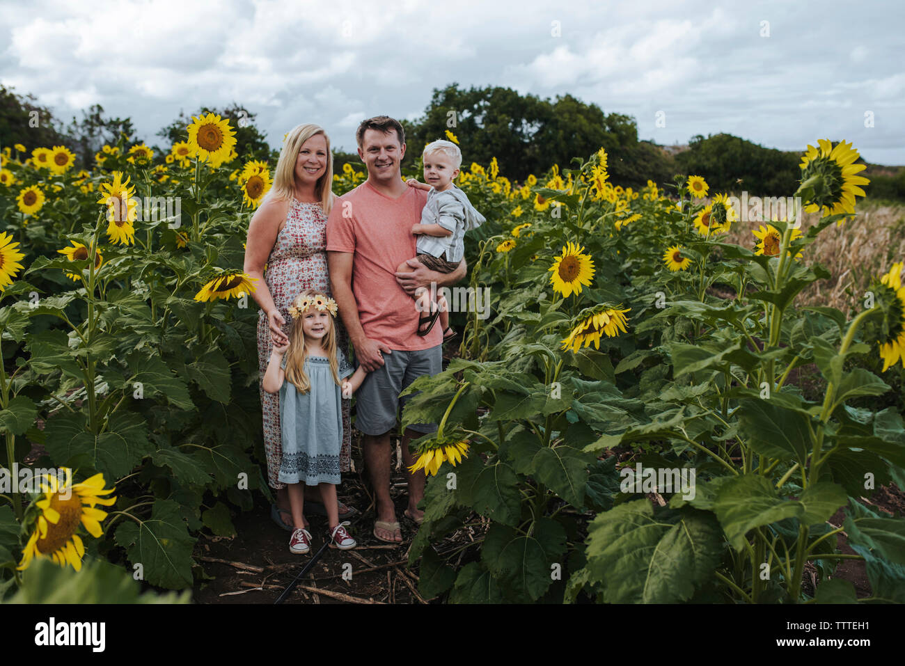 Full length portrait of smiling family standing amidst sunflowers Stock Photo