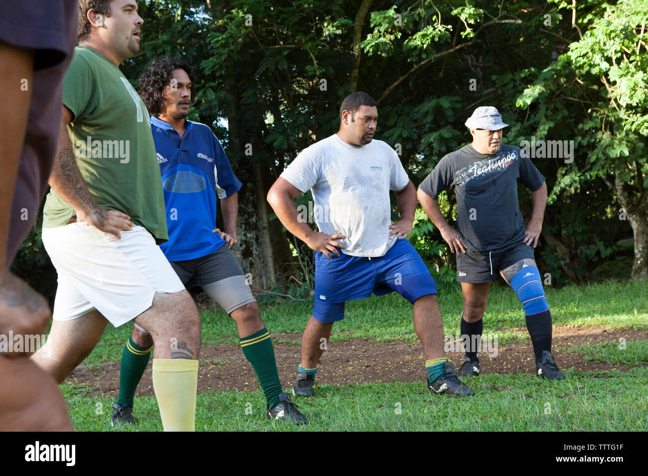 FRENCH POLYNESIA, Moorea. A local rugby team called Team Rotui practicing at Uop honu Park in Moorea Island. Stock Photo