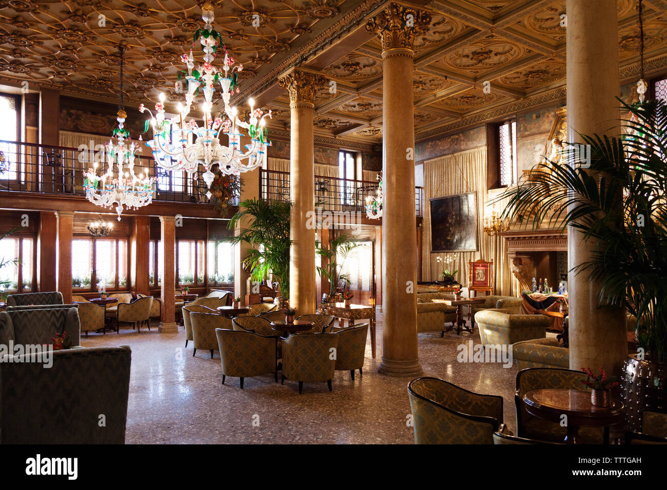 ITALY, Venice. The Lobby of the Hotel Danieli, a Luxury Collection Hotel. - Stock Image