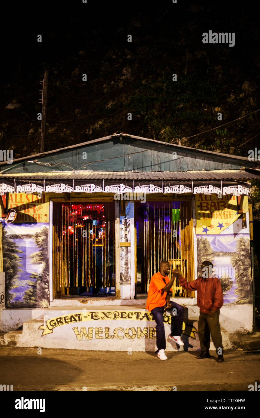 JAMAICA, Port Antonio. Front of the All Star Bar and Lounge. Stock Photo