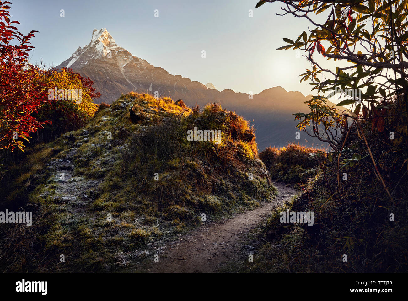 Scenic view of mountains against sky during sunrise at Mardi Himal trek - Stock Image
