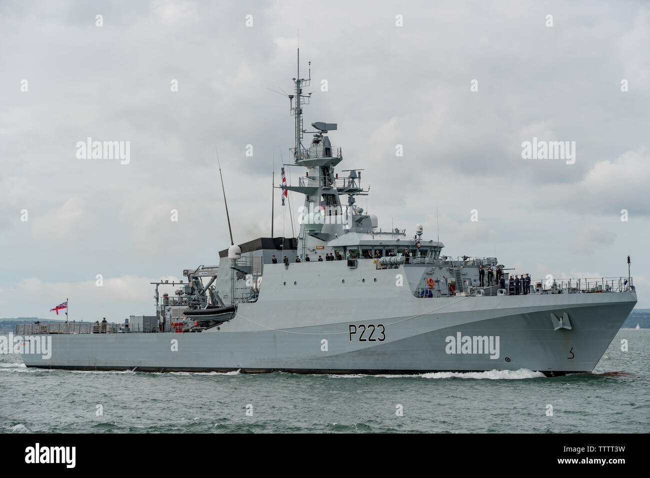 Royal Navy offshore patrol vessel HMS Medway arriving on 17/6/19 at it's base port of Portsmouth, UK after acceptance by the navy from BAE Systems. - Stock Image