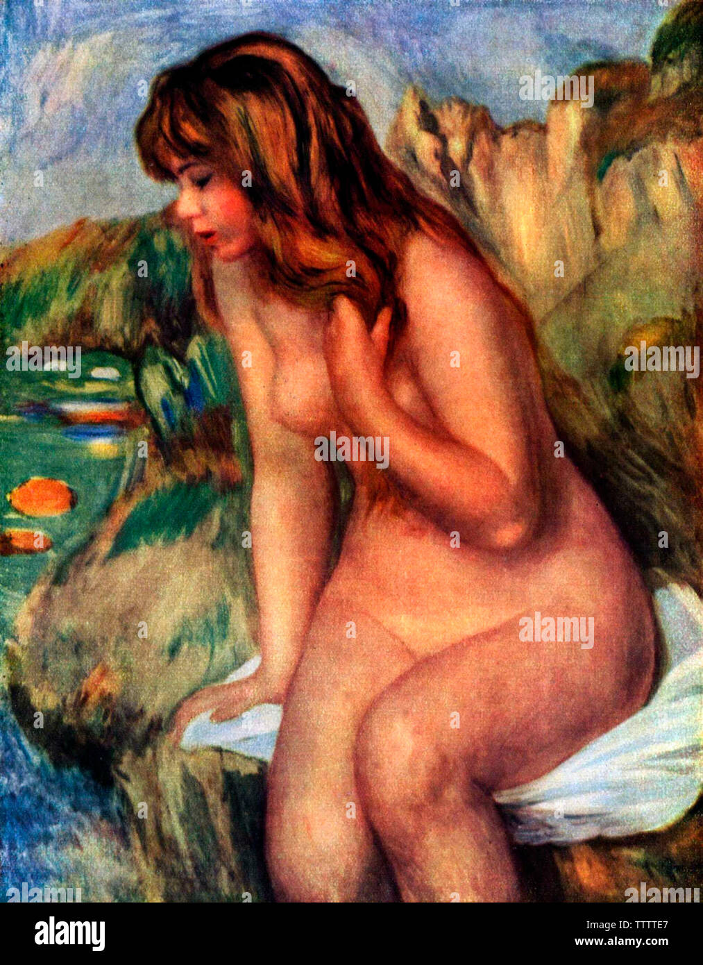 Bather sitting on the rock - Pierre-Auguste Renoir, 1892 - Stock Image
