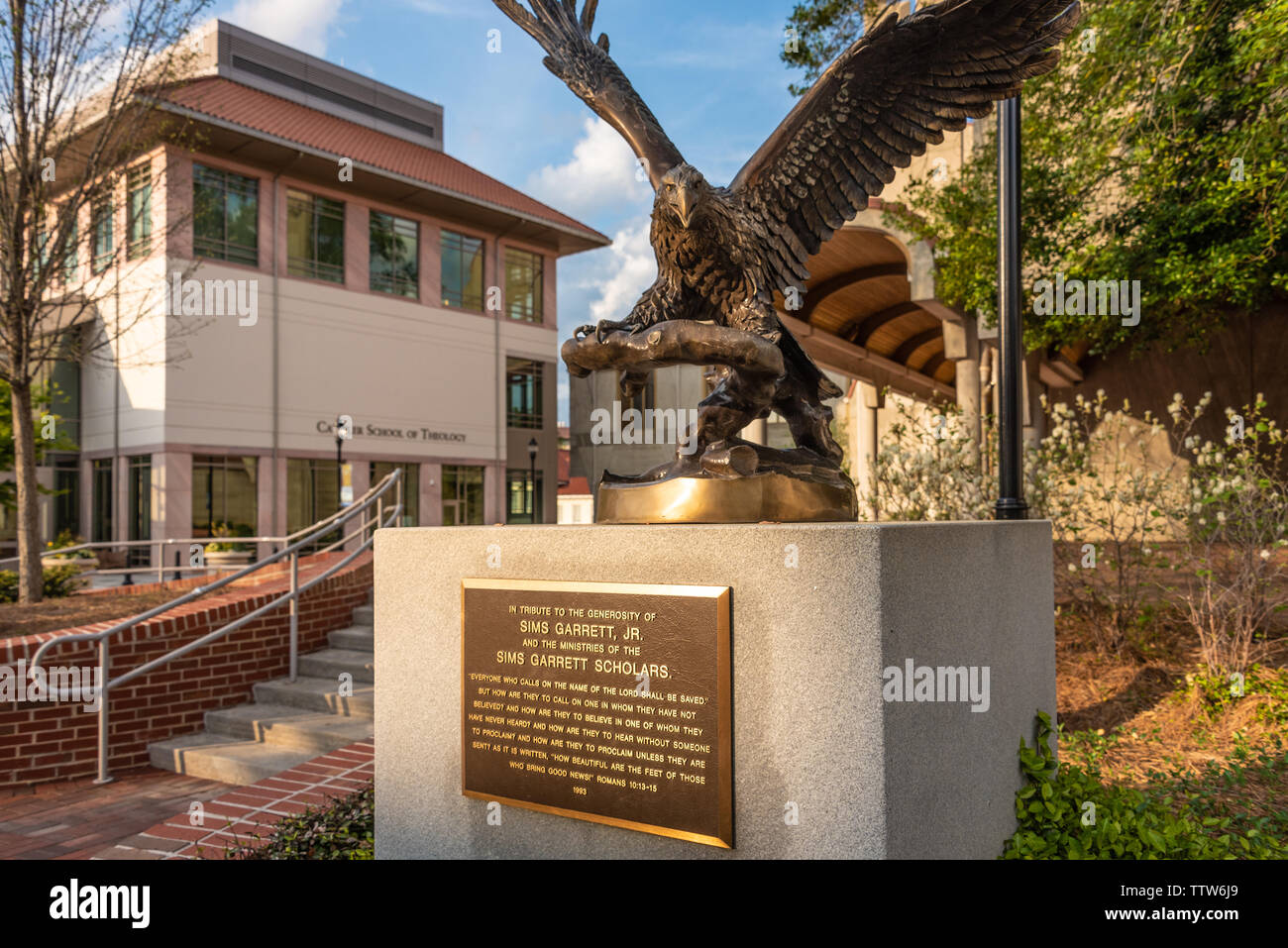 Bronze eagle tribute sculpture outside of Candler School of Theology on the campus of Emory University in Atlanta, Georgia. (USA) - Stock Image