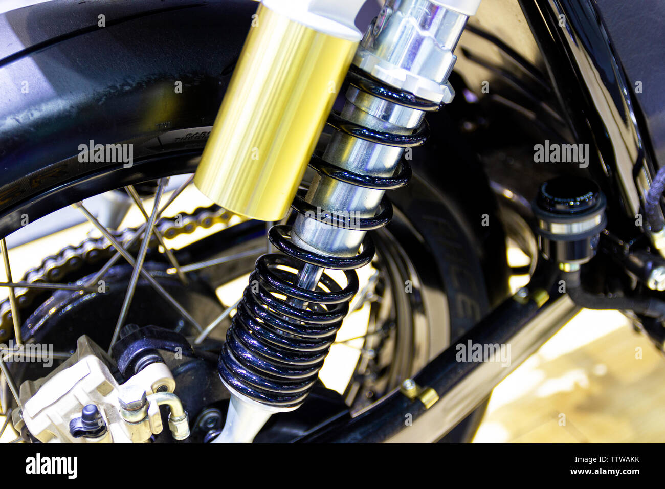 Nonthaburi Thailand:- December 8, 2017: Black Shock Absorbers part of Motorcycle is a part for preventing shock new technology Bangkok, Thailand - Stock Image