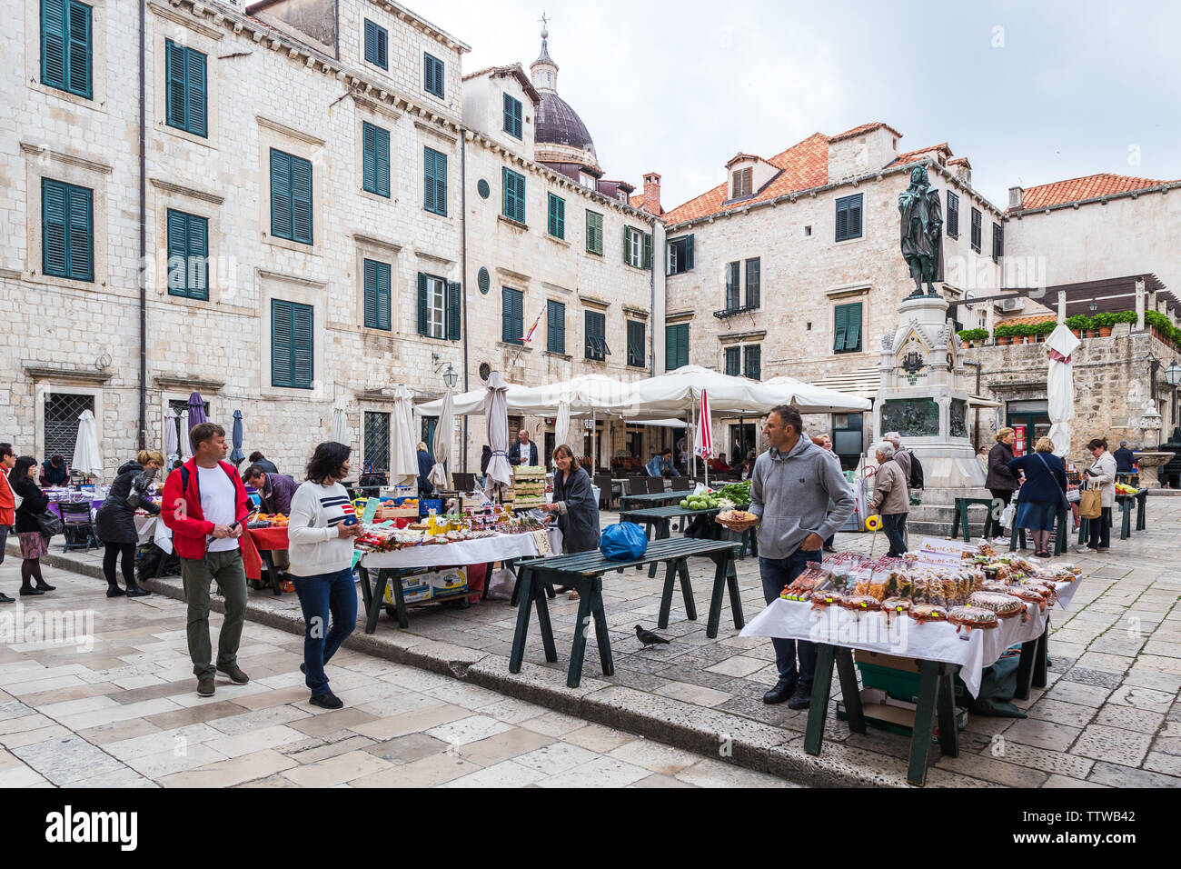 04  May 2019, Dubrovnik, Croatia. Old city architecture, citys market - Stock Image