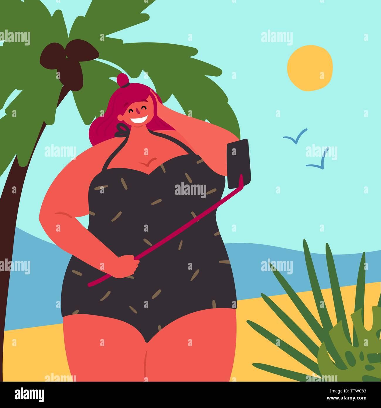 Body positive plus size girl is taking selfie Stock Vector